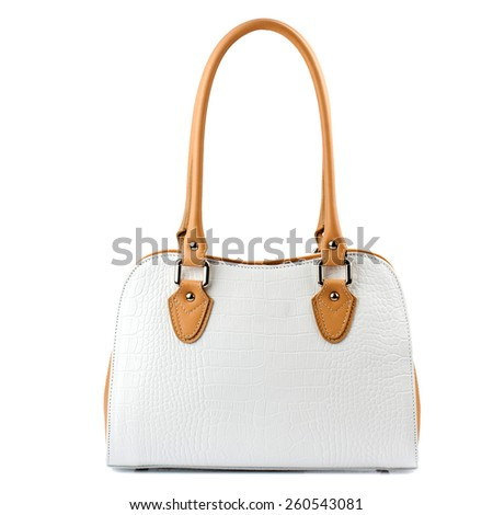 White female handbag isolated on white background. - stock photo