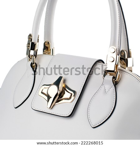 White female leather bag isolated on white background.