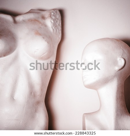 white female mannequin naked and head - stock photo