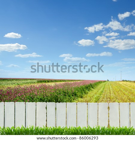 white fence and green grass - stock photo