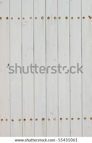 White fence in painted wood - stock photo