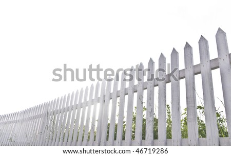 White fence in perspective. - stock photo