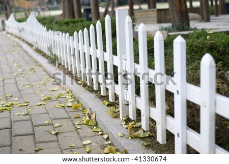 white fence of the garden - stock photo