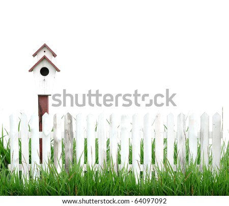 white fence with bird house isolated - stock photo
