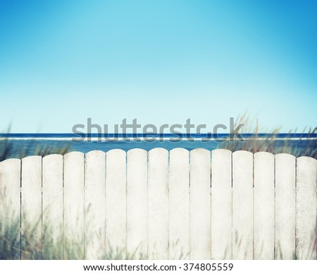 White Fence with Blue Sky Plank Copy Space Concept - stock photo