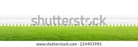 White fence with lawn on isolated. - stock photo