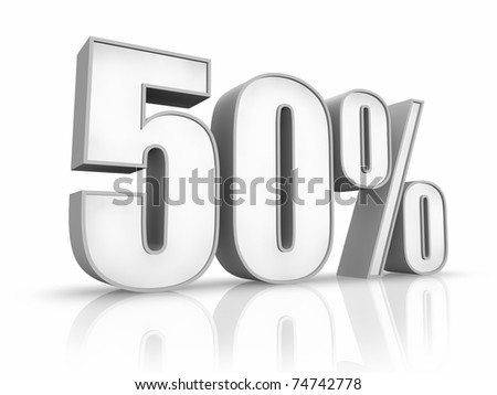 White fifty percent, isolated on white background. 50%