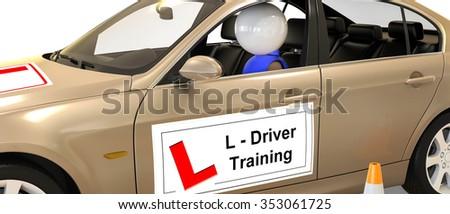 white figurine in a driving school car / Driving school  - stock photo