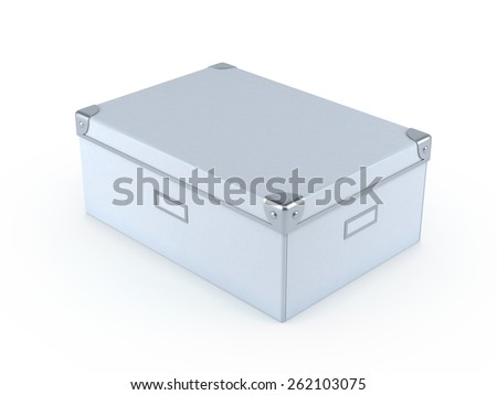 White File Box 3d render Isolated on a White Background.