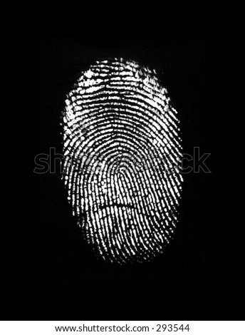 White Finger Print on Black Background
