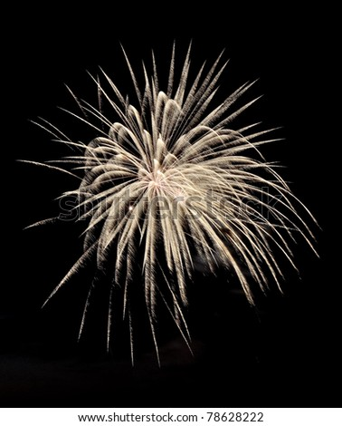 white fireworks in the night sky - stock photo
