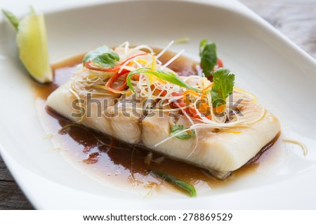 White fish fillet asian styled - stock photo