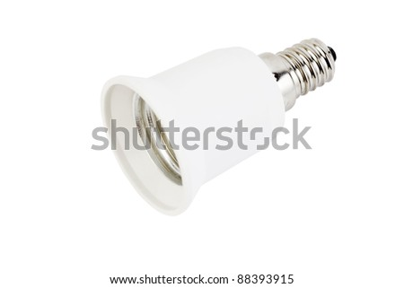 White fixture light isolated on white background; lamp holders with metal parts - stock photo