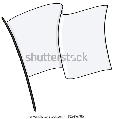 White flag on a flagpole illustration
