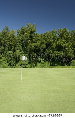 White Flag on Golf Green - stock photo