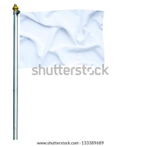 White flag waving on mast isolated on white - stock photo