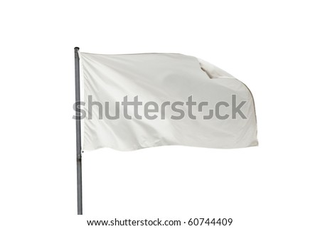 White flag waving on the wind. Isolated over white. Put your own text - stock photo