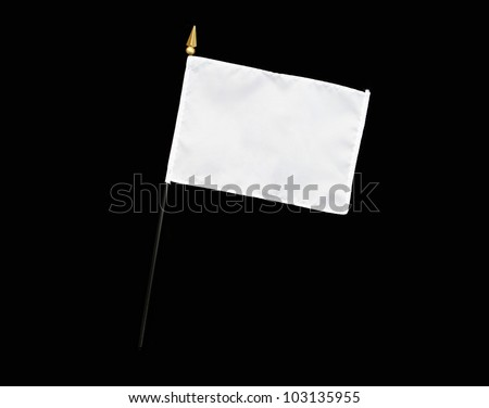 White flag with flagpole isolated on black background with room for your text - stock photo