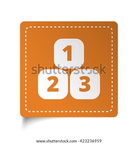 White flat 123 Blocks icon on orange sticker - stock photo