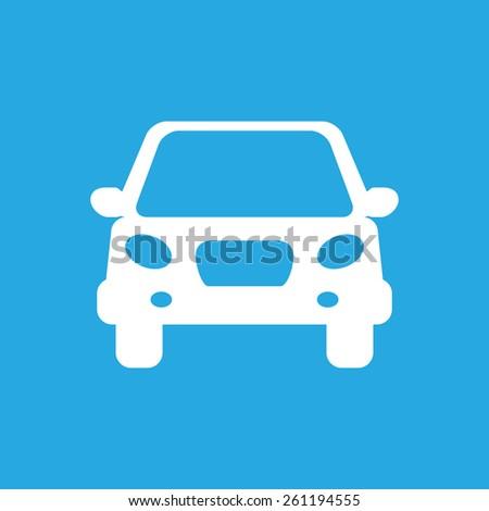 white flat car button icon on a grey background - stock photo