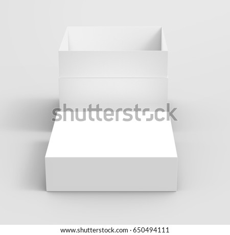 white flat 3d rendering blank open box, isolated gray background