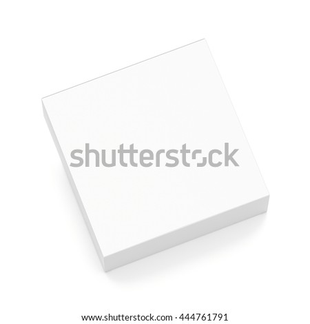 White flat horizontal rectangle blank box from top angle. 3D illustration isolated on white background.