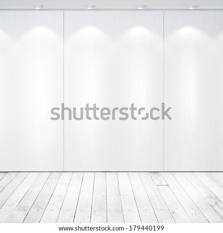 White floor and wall with spotlights - stock photo