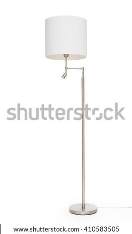 White floor lamp, isolated on white background - stock photo