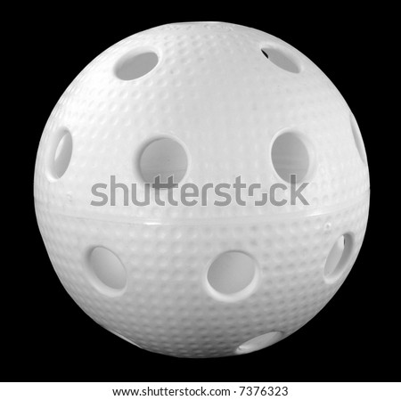 White floorball ball isolated on a black background