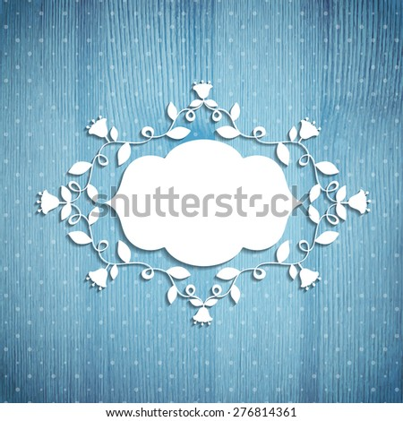 White floral frame on a wooden background. Vector illustration. Eps10 - stock photo