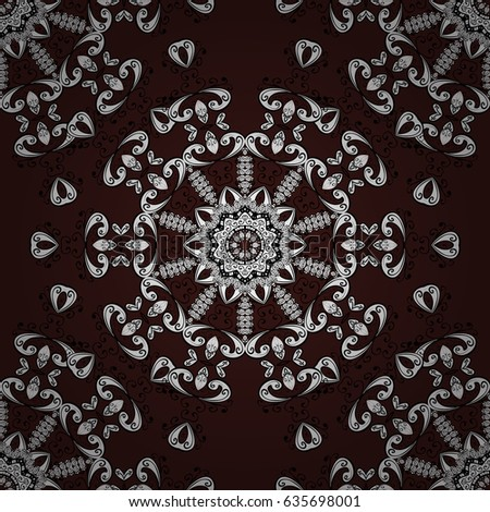 White floral ornament in baroque style. White element on brown background. White Wallpaper on texture background. Damask seamless repeating background.