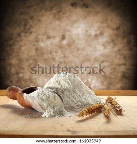 white flour and rye  - stock photo