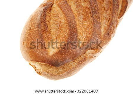 white flour french fresh baked bread loaf isolated on white background - stock photo