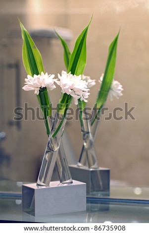 white flower for spa decoration still life - stock photo
