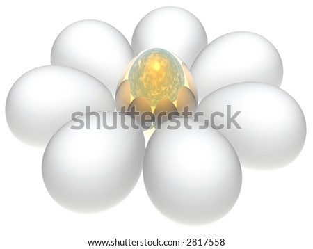 white flower of easter eggs
