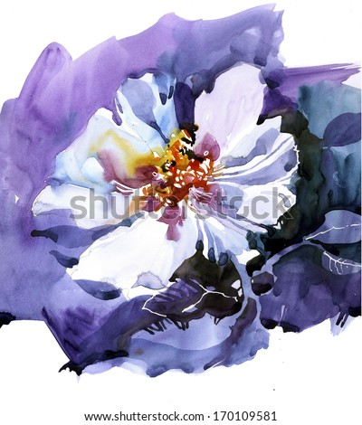 White flower over purple background illustration - stock photo
