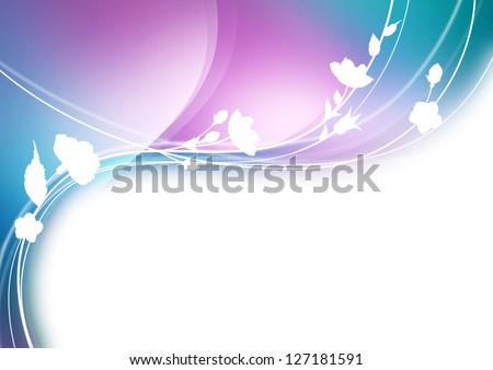 White flowers background art - stock photo