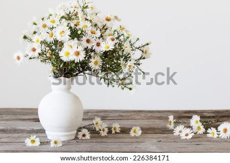 white flowers in vase - stock photo