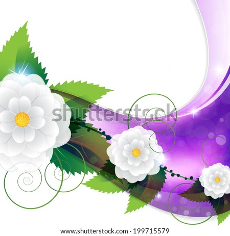 White flowers on a lilac background. Abstract floral background - stock photo