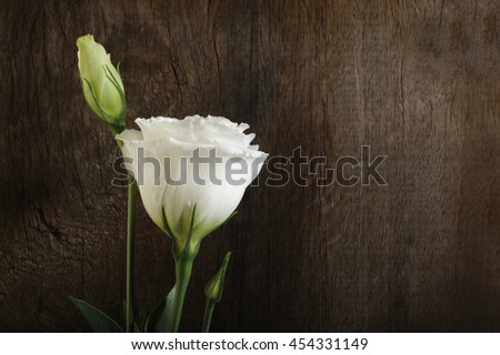 white flowers on wooden background - stock photo