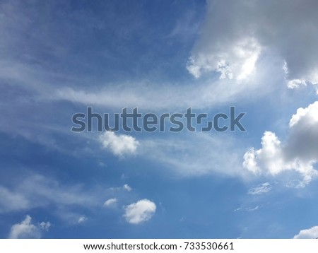 White fluffy cloud decorated in blue sky nice and peace for background used.