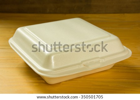WHITE FOAM-BOX FOR FAST-FOOD PACKING - stock photo