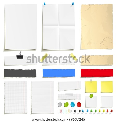 White folded paper, grungy old paper, ragged sheets of paper, blank squared and lined notepad pages and elements for attaching paper: pin, plasticine, scotch tape and paperclip set