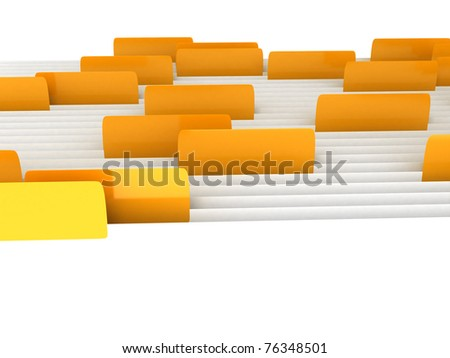 White folders with bookmarks over white background. Computer generated image - stock photo