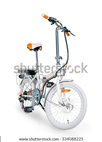 White folding electric bike isolated on a white background with a full clipping path - stock photo
