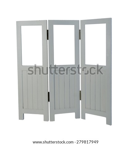 White folding room divider with room for your art - path included - stock photo
