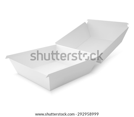 White food box, packaging for hamburger, lunch, fast food, burger, sandwich. Product pack.  isolater on white background - stock photo