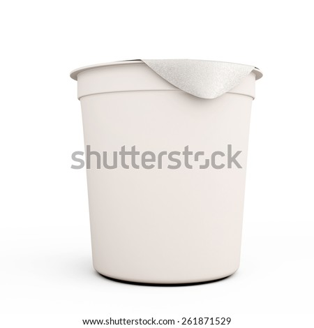 White food kontener for yogurts close-up on a white background. 3d illustration. - stock photo