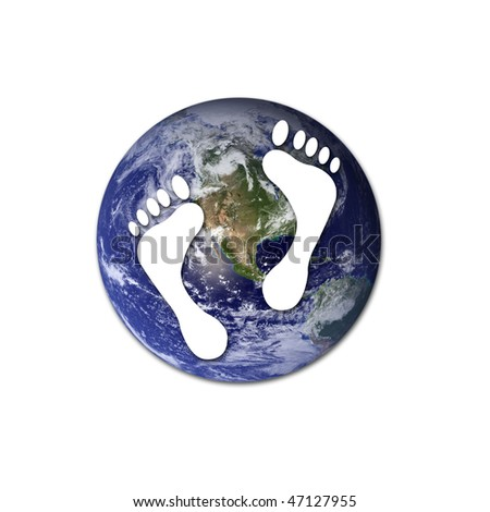 White footprints over Earth to represent environmet issues or carbon footprint. Earth photo from Nasa. - stock photo