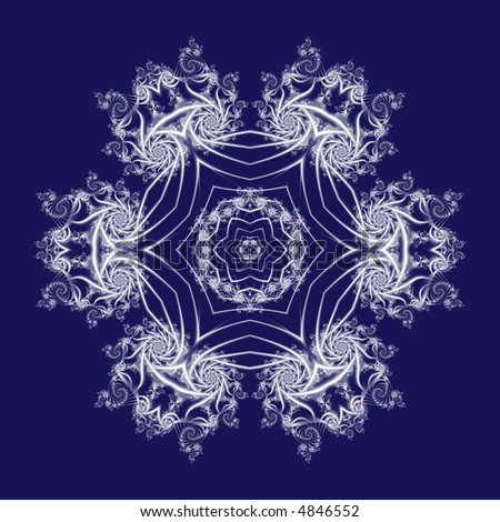 white fractal snowflake on blue background - stock photo